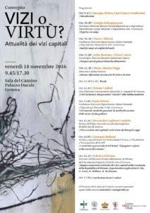 NOVEMBRE 2016 - Vizi o Virtù? Attualità dei vizi capitali